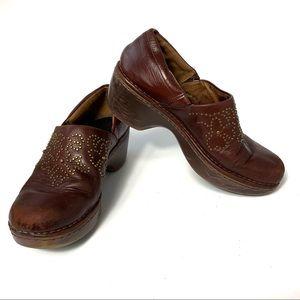 Ariat Tan Leather Stud Slip On Platform Clogs